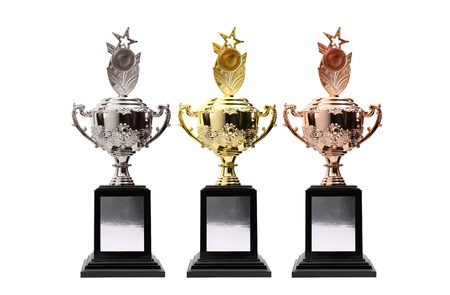 3 trophy  multi color on white photo