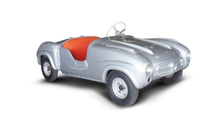 motorcar: silver antique cars on white