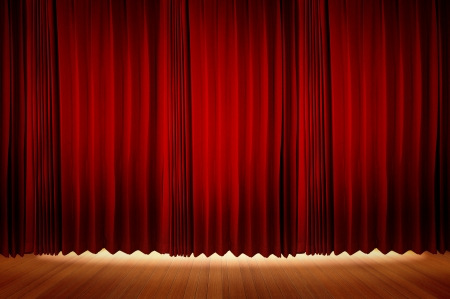 floor cloth: Red Velvet Stage Curtains with Stage Floor