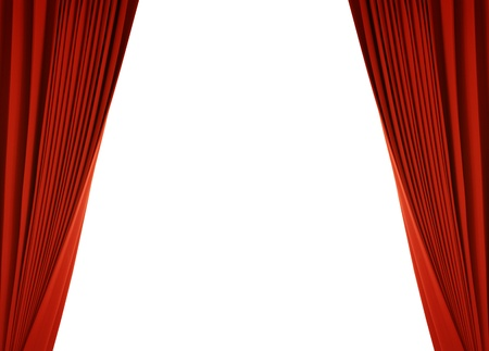Theater stage with red curtain (with path) photo