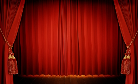 curtain theatre: Theatrical curtain of red color  Stock Photo