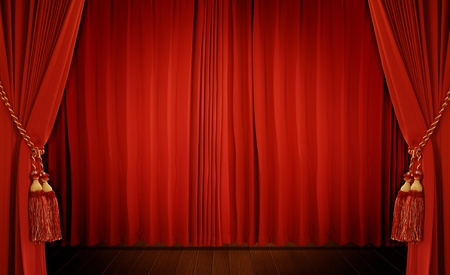 auditorium: Theatrical curtain of red color  Stock Photo