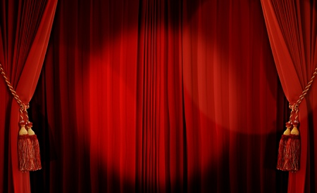 drapes: Theatrical curtain of red color  Stock Photo