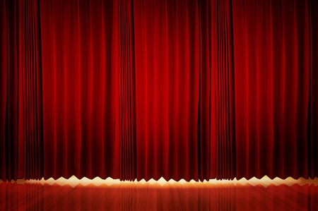 red stage curtain: Theatrical curtain of red color  Stock Photo
