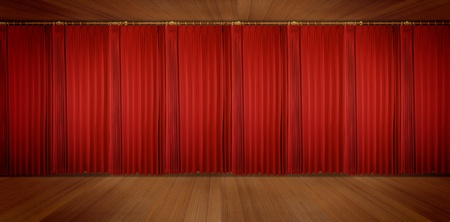 red stage curtain: panoramic Theatrical curtain of red color