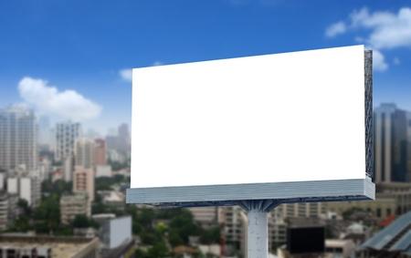 blank billboard: Blank billboard on blue sky