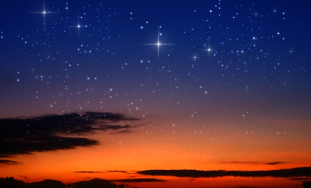 sterrenhemel: zonsondergang en de sterren