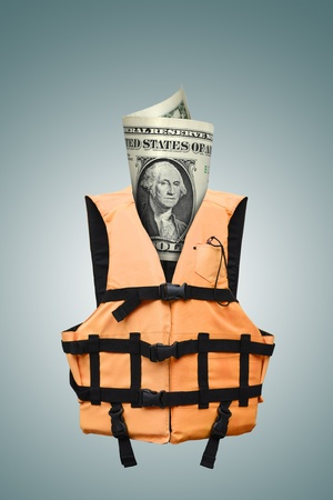 lifejacket: safety dollars concept (path in side)