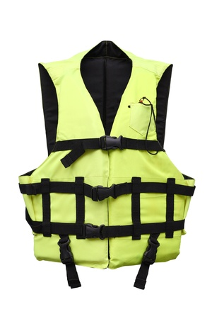 reflective vest: green vest jacket on white