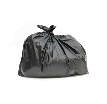 disposal: close up of a garbage bag on white background