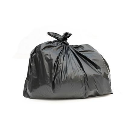 garbage disposal: close up of a garbage bag on white background