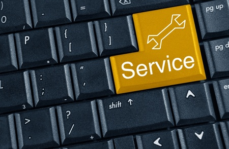yellow button service on keyboard Stock Photo - 11540336