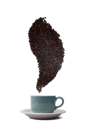 blue coffee cup and beans on white background photo