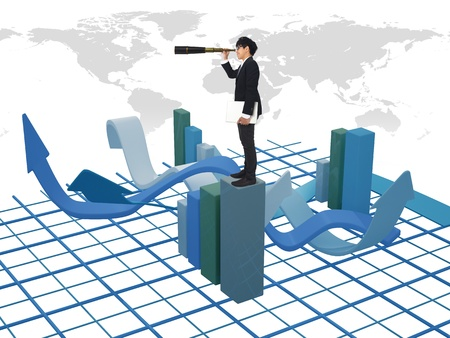 Asia Businessman standing on 3d graph photo