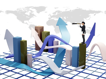 Asia Businessman standing on 3d graph Stock Photo - 11877690