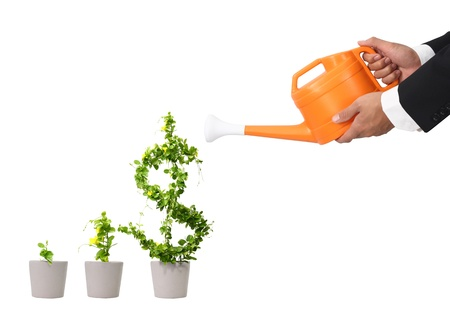 money tree: hand business man and orange water can (path in side) Stock Photo