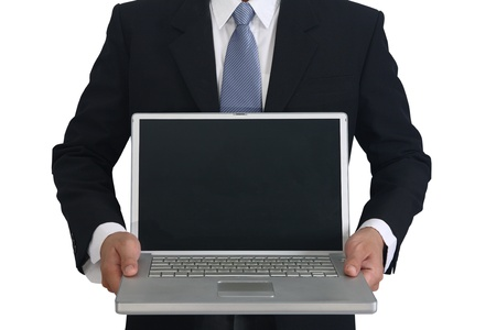 Close-up of business man presenting laptopn  photo