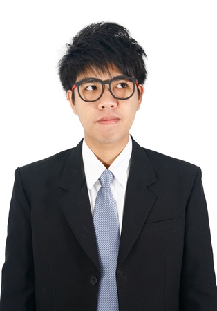 young asian business man  looking up photo