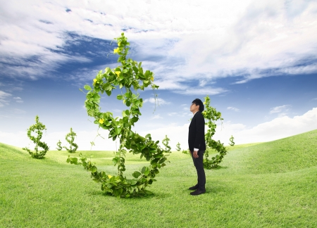one dollar bill: asia young business man looks dollars tree Stock Photo