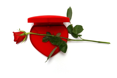 Red Heart Shaped Box and rose. photo