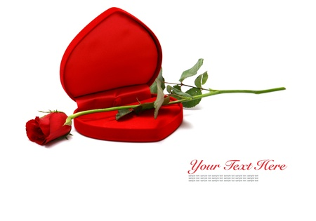 Valentines Day Red Heart Shaped Box and rose. Stock Photo - 11878224