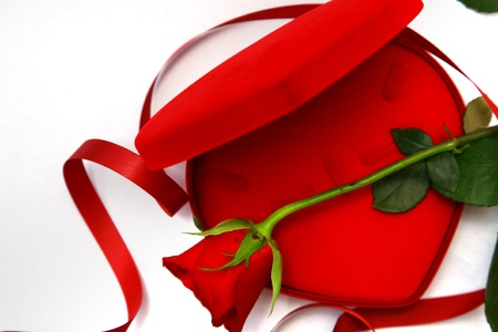 Valentines Day Red Heart Shaped Box and rose. Stock Photo - 11878291
