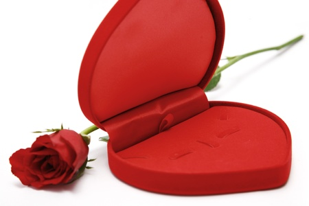 heart shaped box: Red Heart Shaped Box and rose. Stock Photo