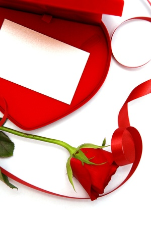 close up Red velvet Heart Shaped Box and rose. Banco de Imagens