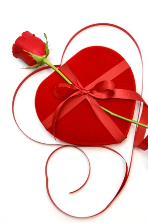 close up Red velvet Heart Shaped Box and rose. Stock Photo