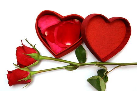 affection: Red Heart Shaped Box and rose.  Stock Photo