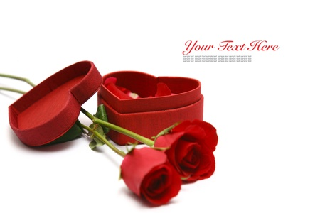 Red Heart Shaped Box and rose. Stock Photo