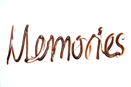 memories Just for you text made of chocolate design element.  photo
