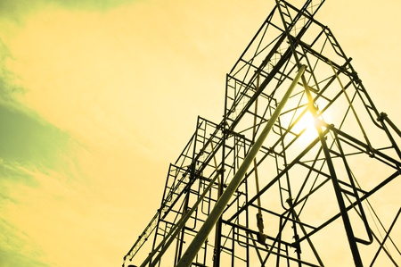engineering tools: Silhouettes of scaffolding on sunset