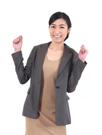 furor: Successful modern Asian business woman on white background