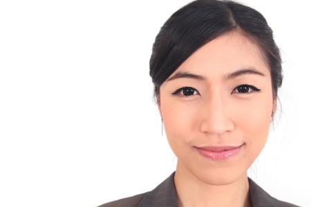 black woman face: Close up Asian Business woman on white background