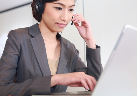 call center woman asian young smile, woking