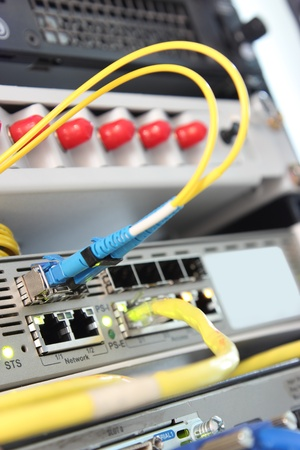 close up network switch and patch cables photo
