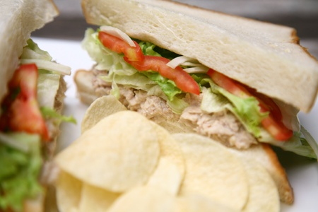 sandwiches with tuna close up  photo