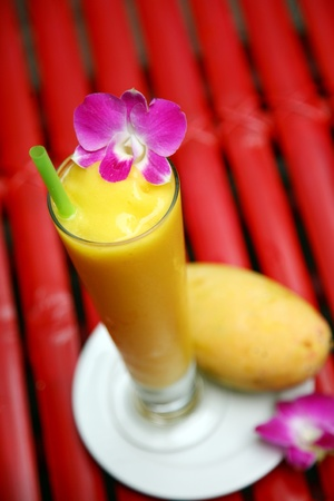 Mango strawberry smoothie  photo