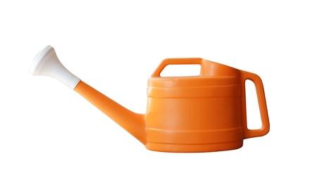 bailer: Orange watering pot isolated on white.  Stock Photo