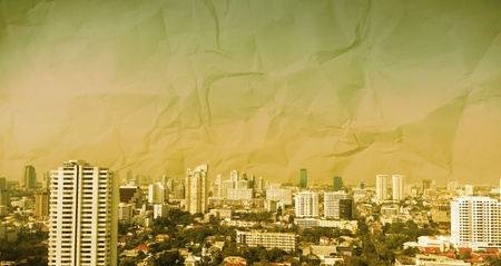 grunge image of city  skyline .  photo