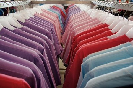 Colorful t-shirts on the hanger Stock Photo - 12858010