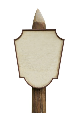 blank wooden sign on white background          photo