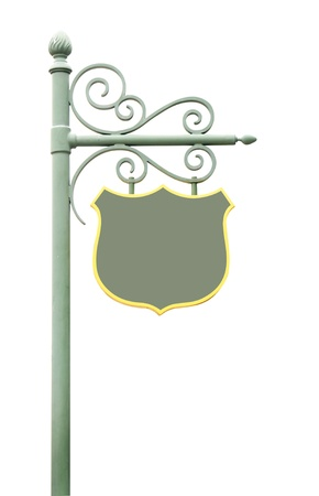 Metal Sign on street pole. Isolated on white Stock Photo - 12857810