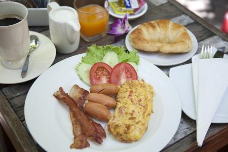 American breakfast, eggs, bacon, coffee  photo