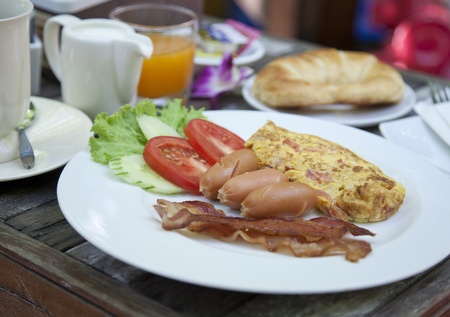 American breakfast, eggs, bacon, coffee  photo