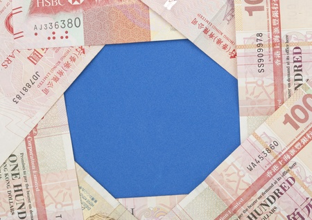 dollars honkong on blue background  photo