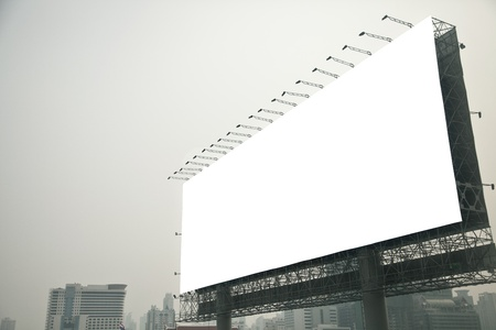 Blank billboard  on city photo