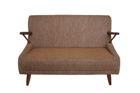 brown fabric  sofa isolated on white photo