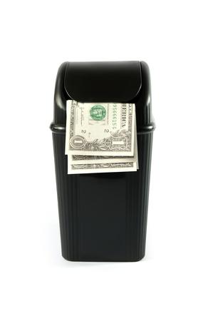 full dollar paper money trash bin photo